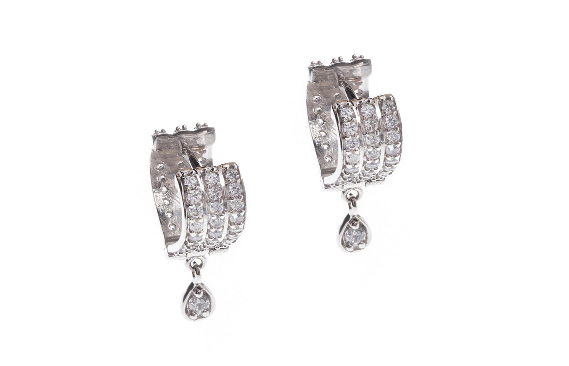 18ct White Gold Drop Earrings set with Cubic Zirconia stones, Minar Jewellers - 3
