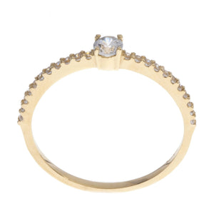 18ct White / Yellow Gold Cubic Zirconia Engagement Ring, Minar Jewellers - 4