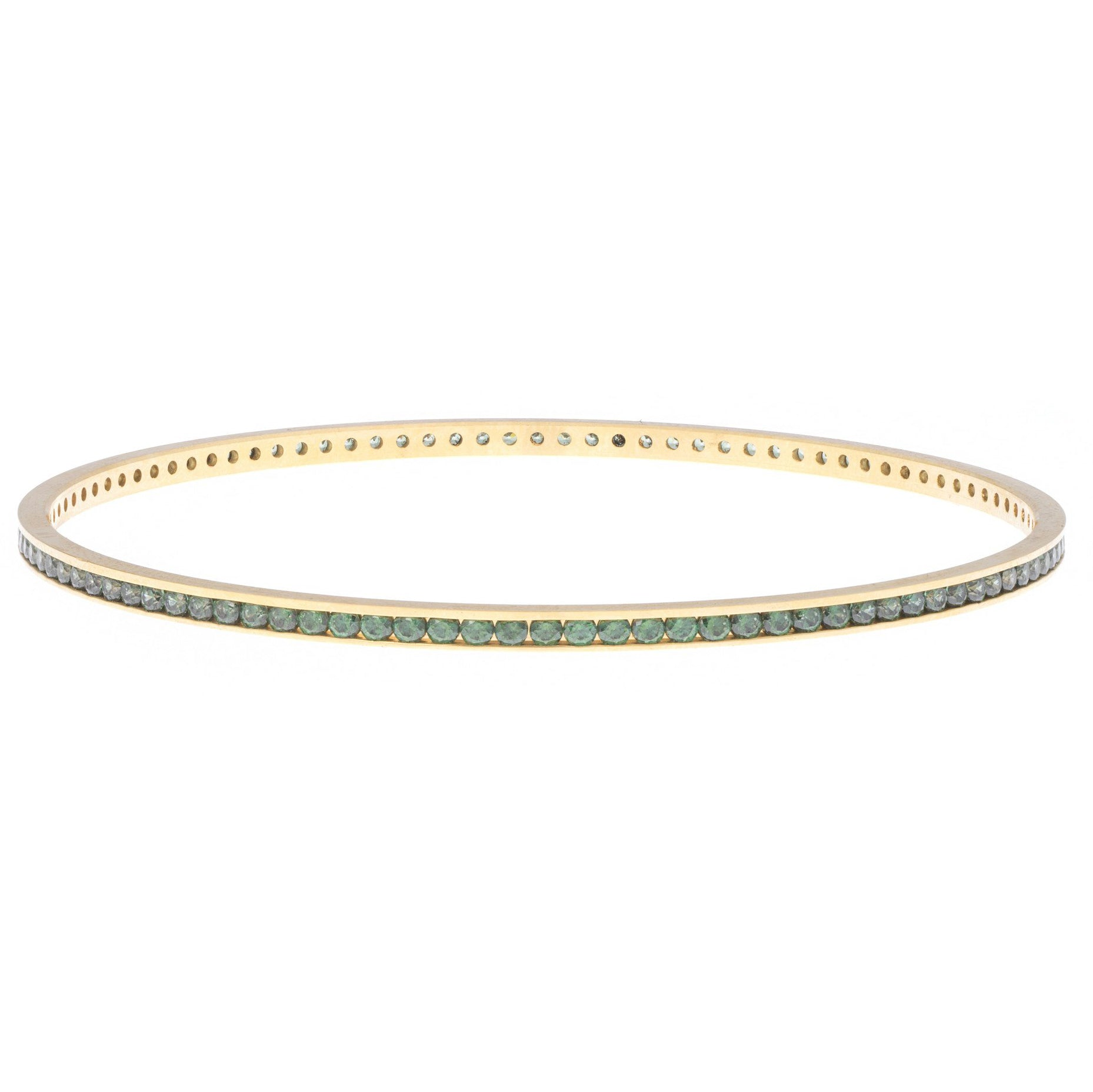 22ct Yellow Gold Bangle set with Green Stones (G1994), Minar Jewellers - 1