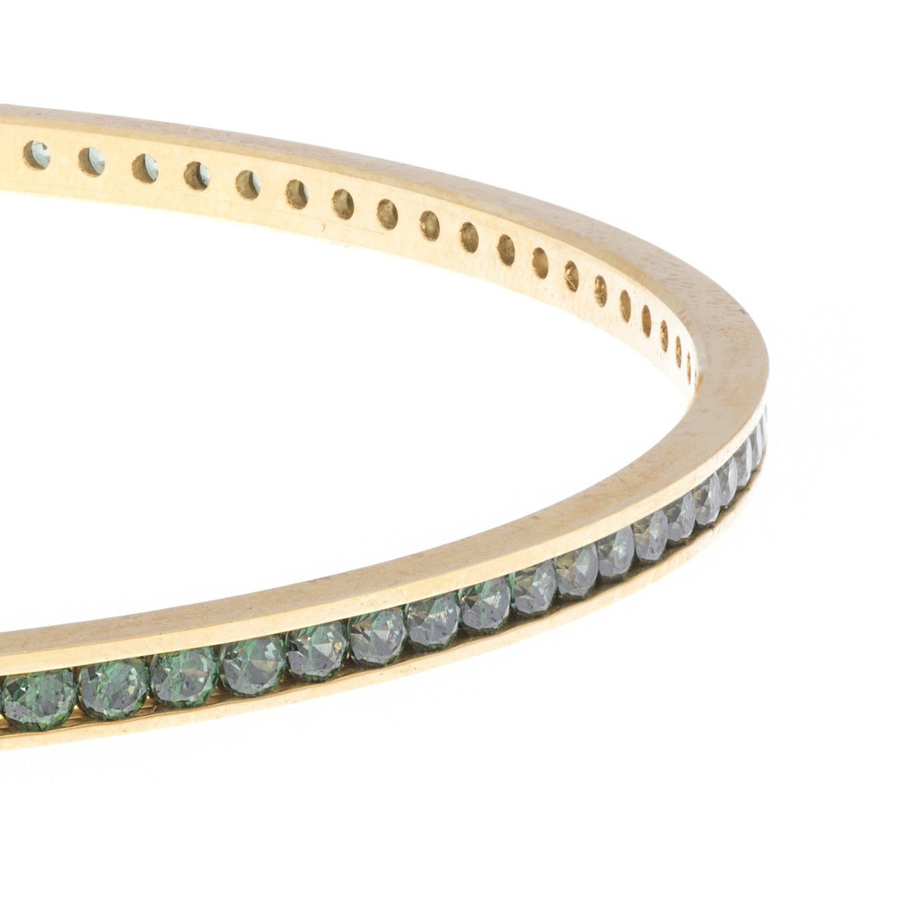 22ct Yellow Gold Bangle set with Green Stones (G1994), Minar Jewellers - 2