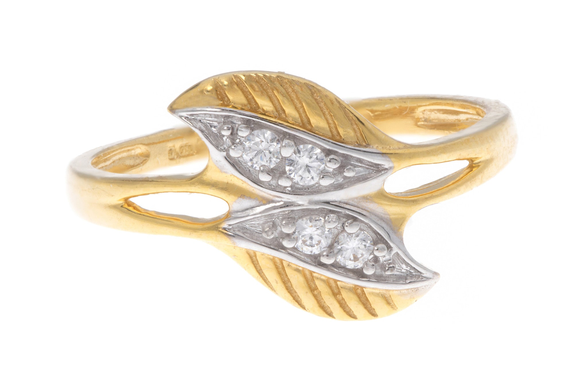 22ct Yellow Gold Double Leaf Dress Ring set with Cubic Zirconias, Minar Jewellers - 2