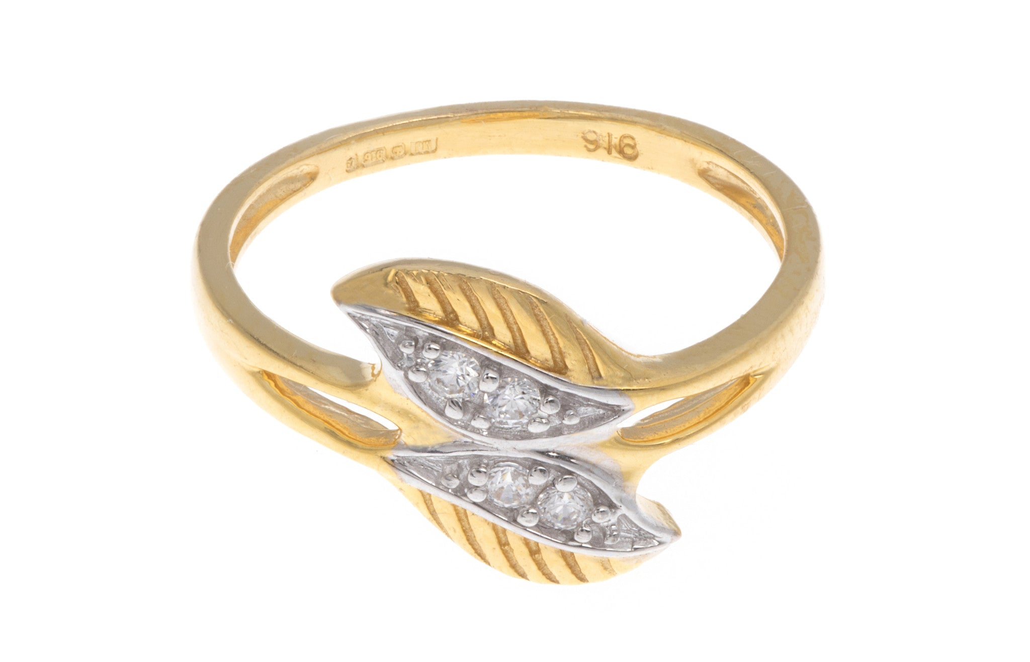 22ct Yellow Gold Double Leaf Dress Ring set with Cubic Zirconias, Minar Jewellers - 3