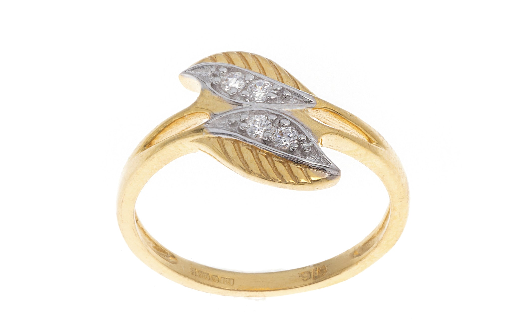 22ct Yellow Gold Double Leaf Dress Ring set with Cubic Zirconias, Minar Jewellers - 4