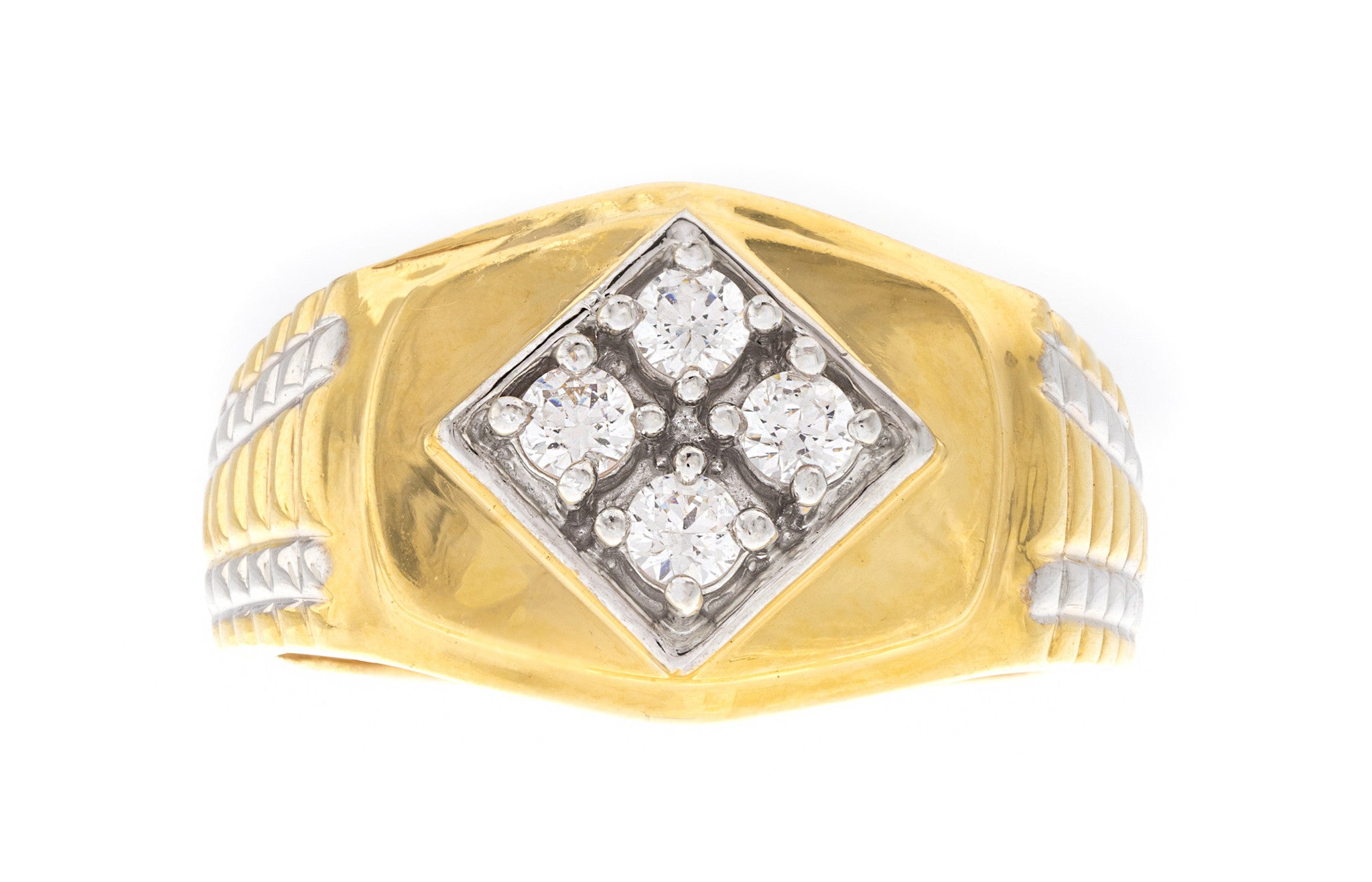 22ct Yellow Gold Cubic Zirconia Men's Ring, Minar Jewellers - 3