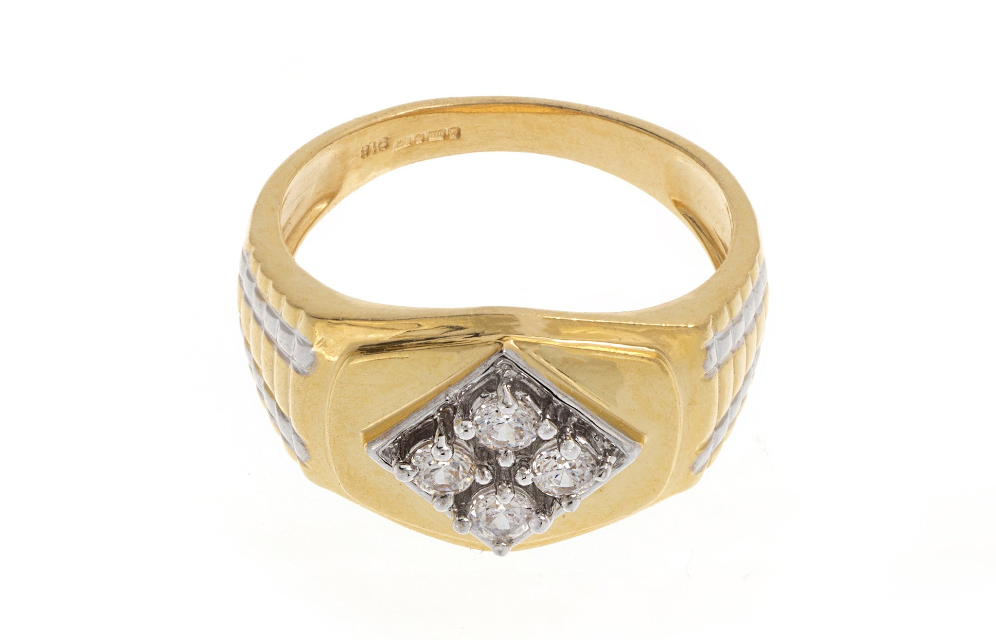 22ct Yellow Gold Cubic Zirconia Men's Ring, Minar Jewellers - 4