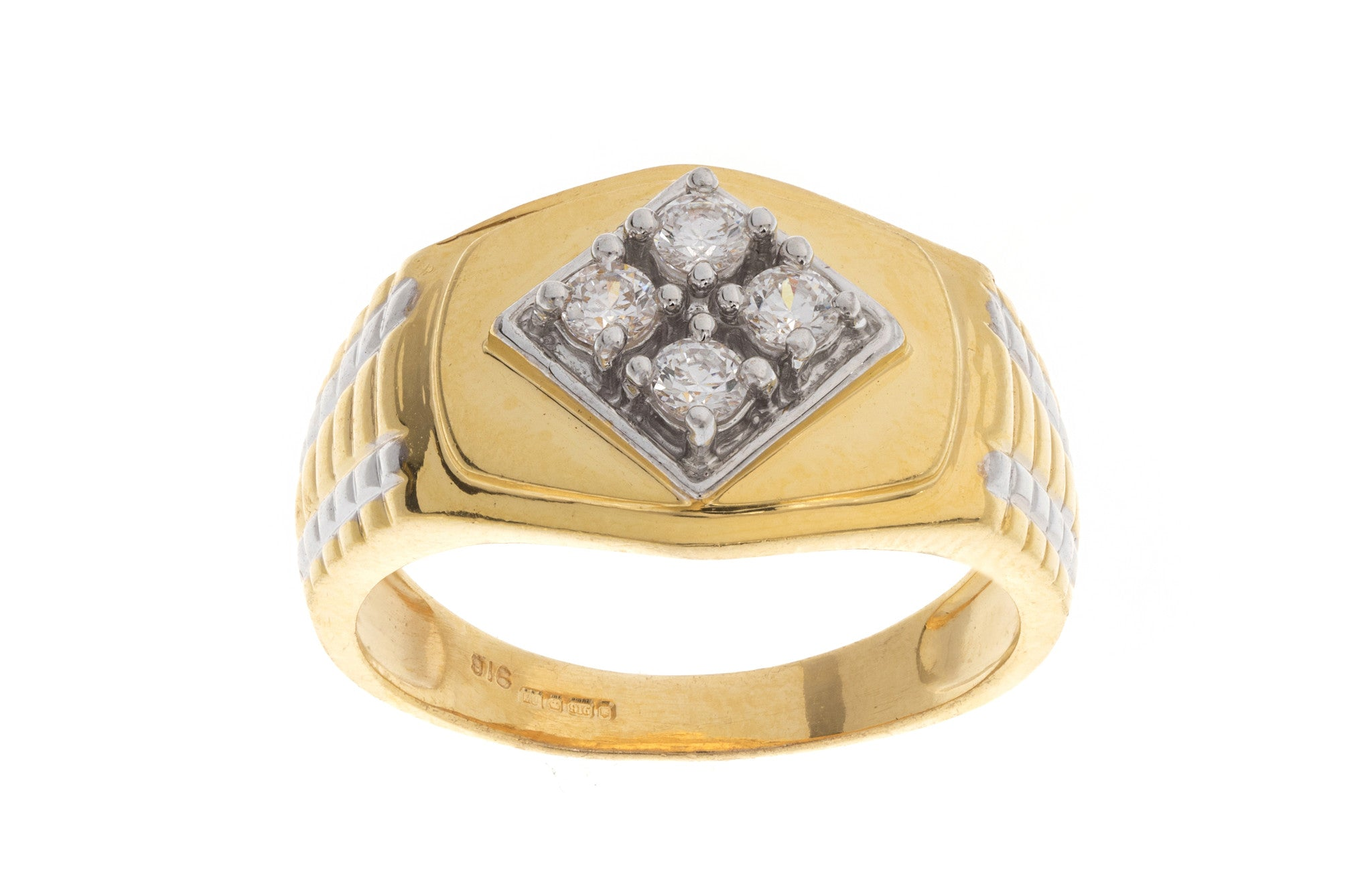 22ct Yellow Gold Cubic Zirconia Men's Ring, Minar Jewellers - 1