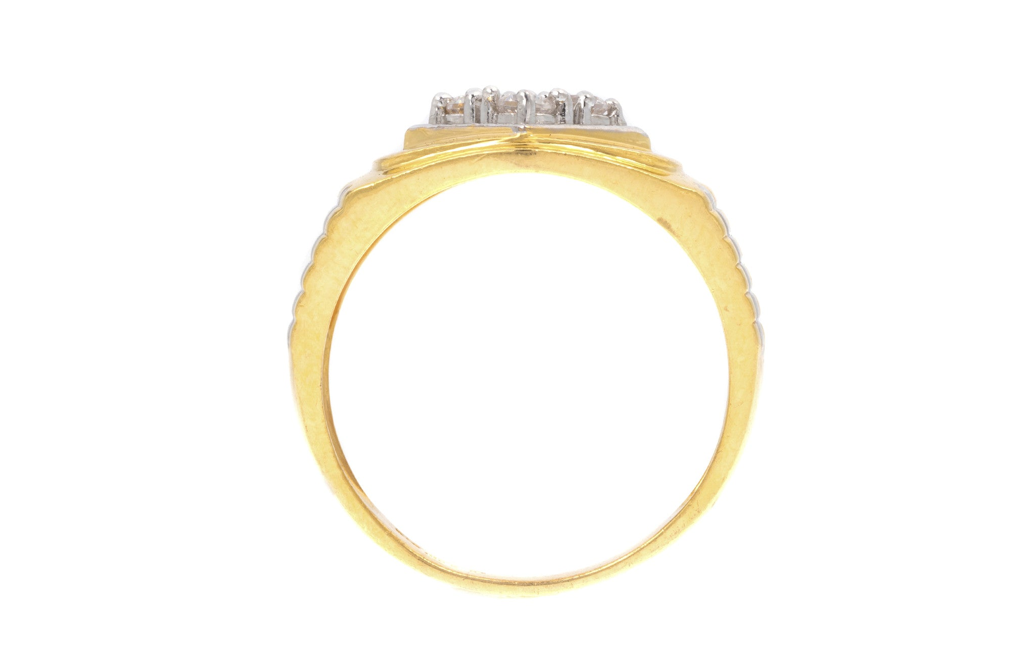 22ct Yellow Gold Cubic Zirconia Men's Ring, Minar Jewellers - 5