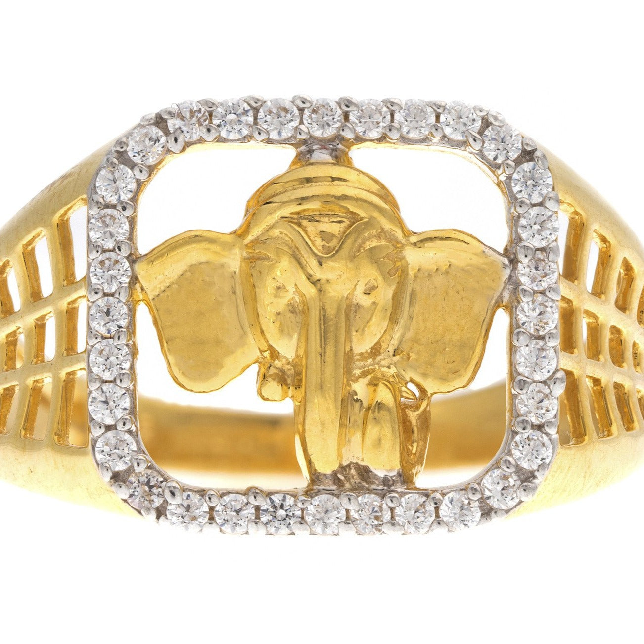 22ct Yellow Gold Cubic Zirconia Men's Ganesh Ring, Minar Jewellers - 3