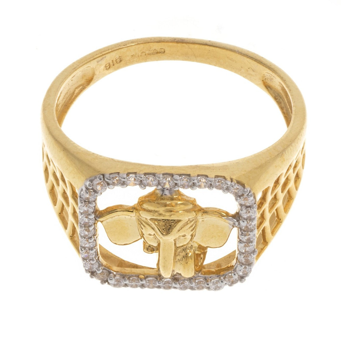 22ct Yellow Gold Cubic Zirconia Men's Ganesh Ring, Minar Jewellers - 4
