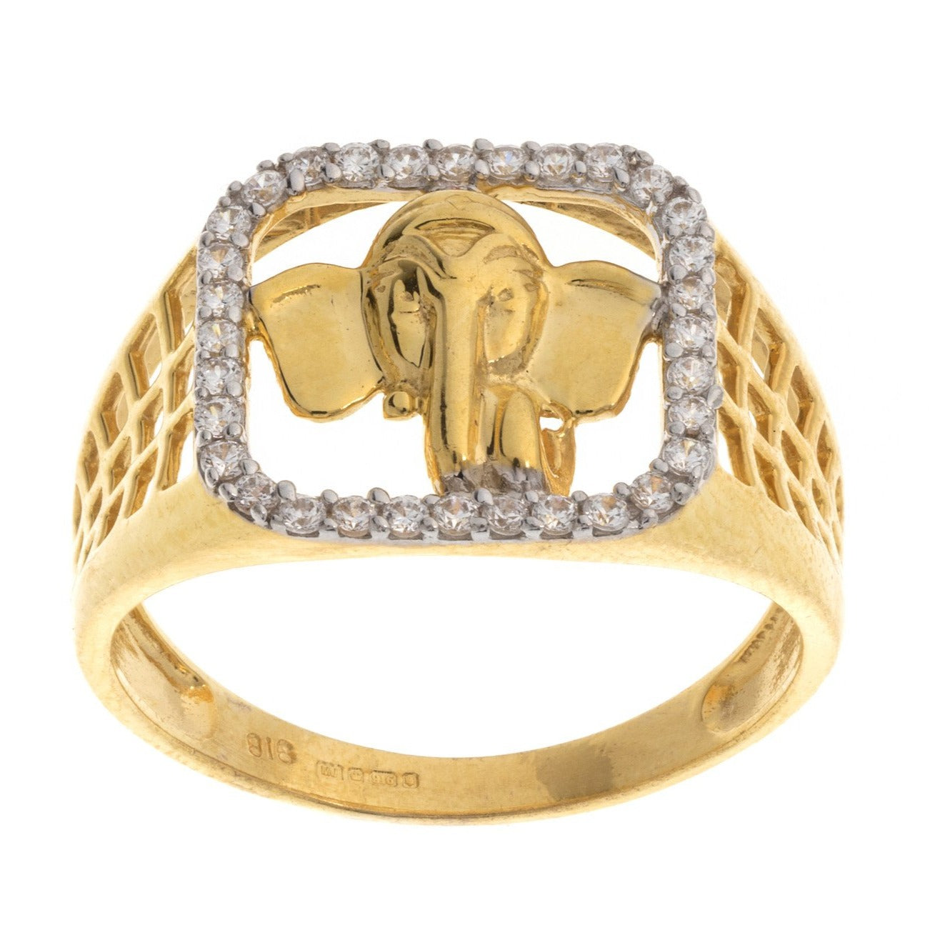 22ct Yellow Gold Cubic Zirconia Men's Ganesh Ring, Minar Jewellers - 2