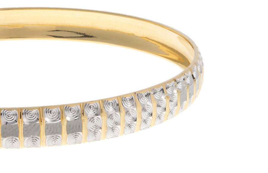 22ct Yellow Gold Bangle with Rhodium Design (B-3007)