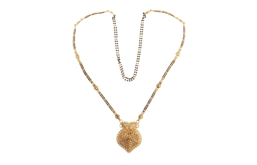 22ct Gold Long Mangal Sutra Necklace with filigree design (MS-6668)