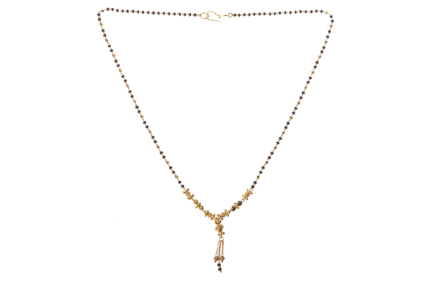 22ct Gold Mangal Sutra Necklace with Diamond Cut Design and Drops (7.6g) (MS-7238)