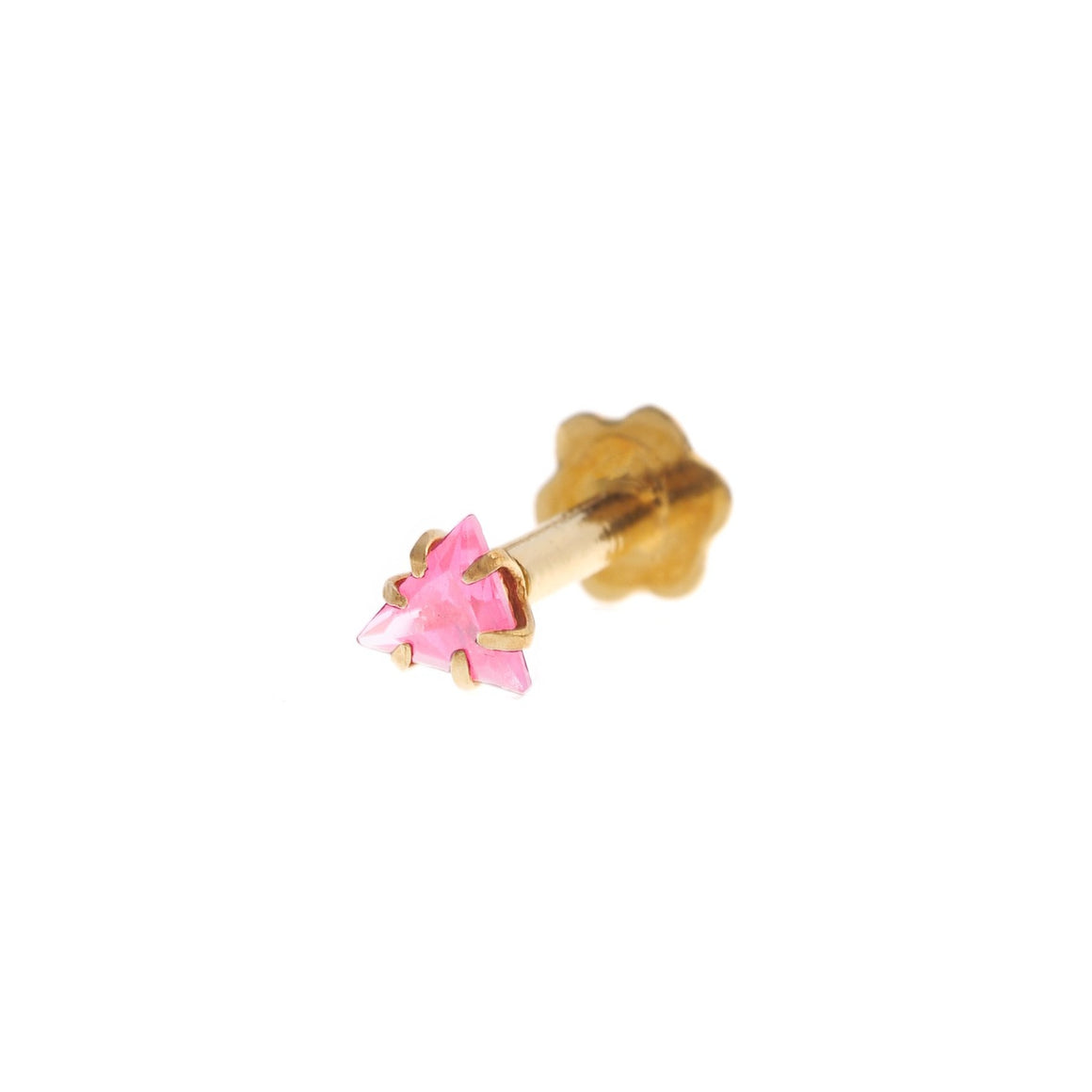 18ct Gold Nose Stud with a Triangle Cubic Zirconia Stone (3.5mm width) (NS-5803)