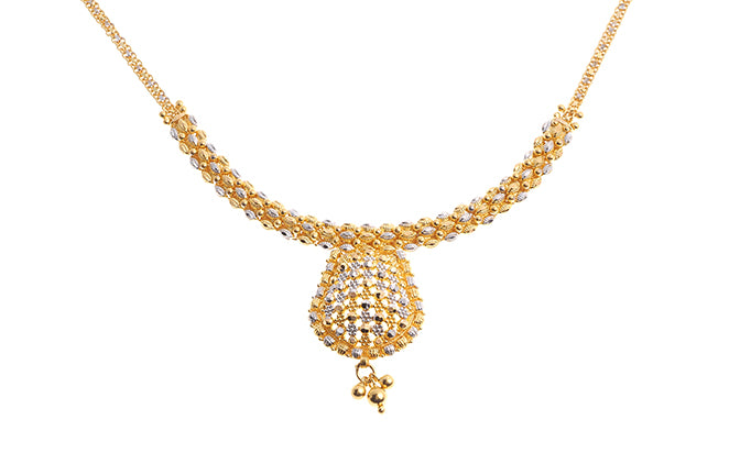 22 Carat Gold Necklace Set with Rhodium Design (N&E-6184)