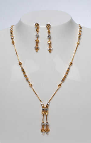 22 Carat Gold Necklace and Earring Set with Diamond Cut and Rhodium Design (N&E-7196)