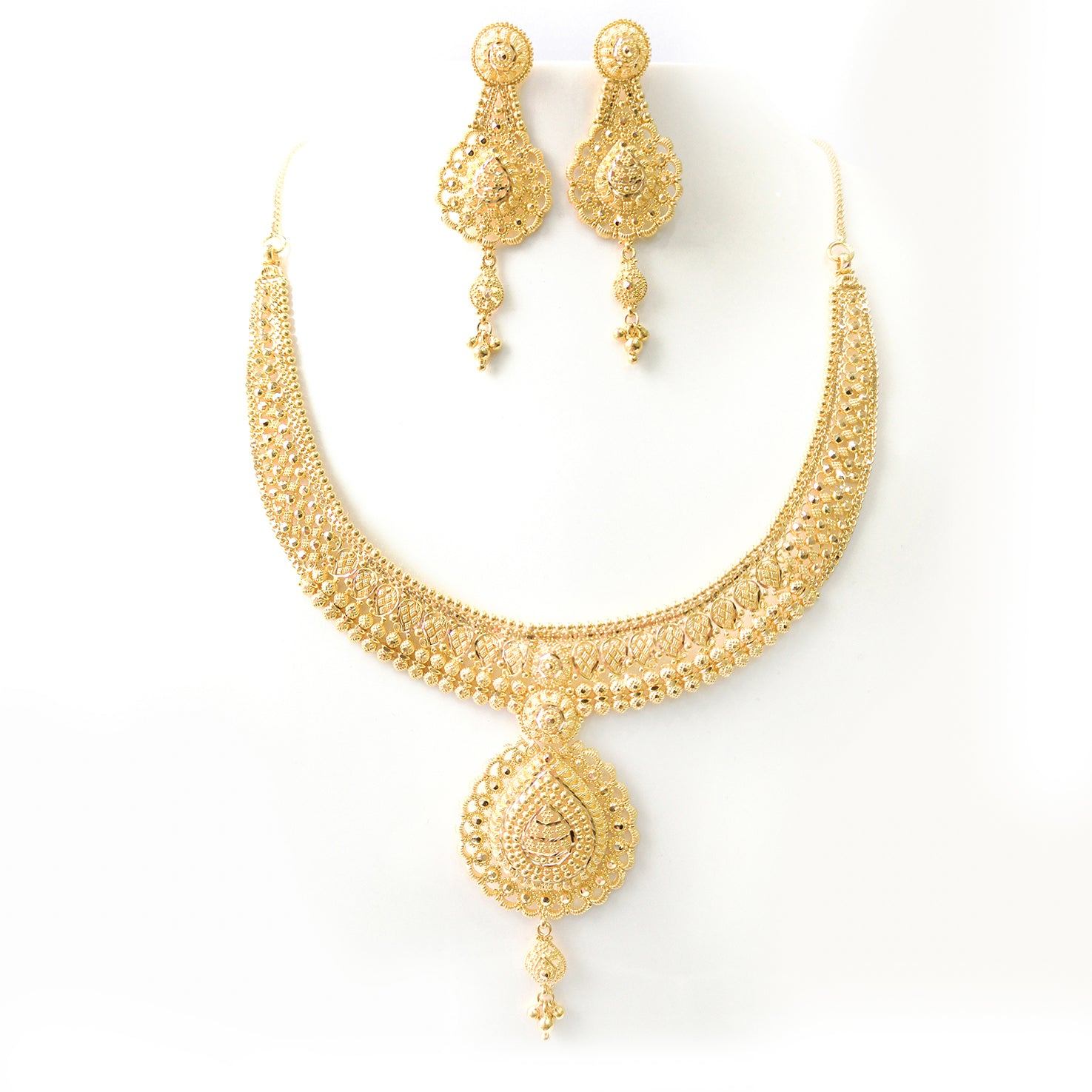 22ct Gold Necklace and Earrings Set with Diamond Cut Filigree Design N&E-7582