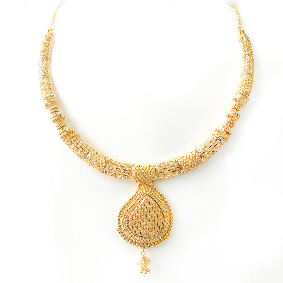 22ct Gold Necklace and Earrings Set with Filigree Design N&E-7584
