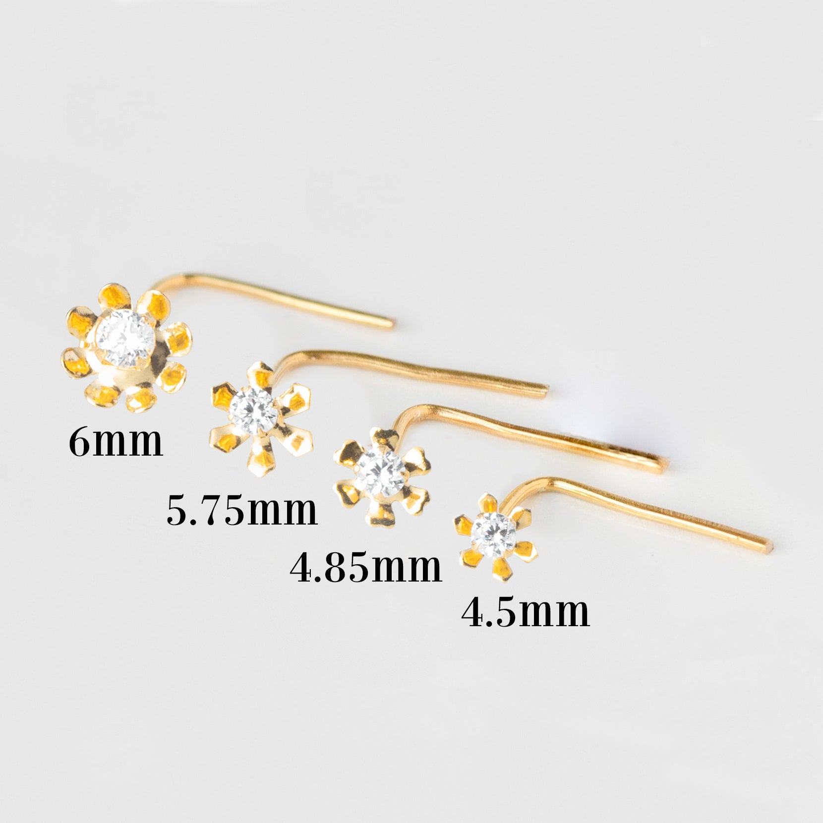 18ct Yellow Gold L Shape Back Nose Stud set with Cubic Zirconia in a Flower Design (4.5mm - 6mm) NIP-4-080