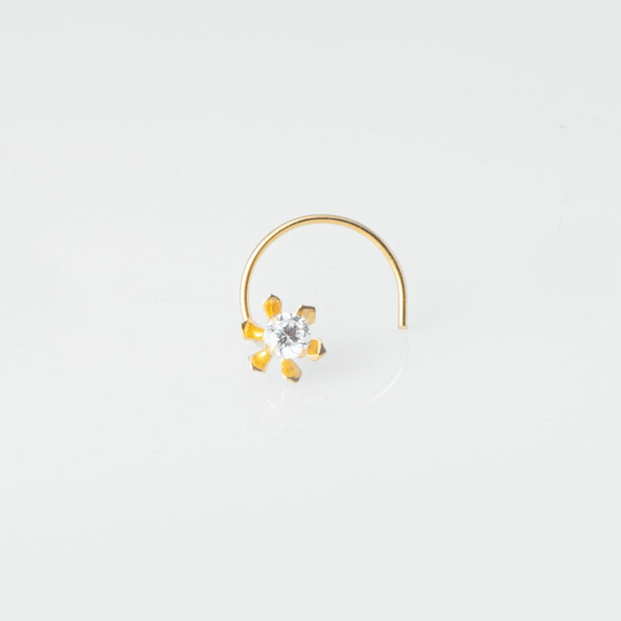 18ct Yellow Gold Wire Coil Back Nose Stud set with Cubic Zirconia in a Flower Design (4.5mm - 6mm) NIP-4-080