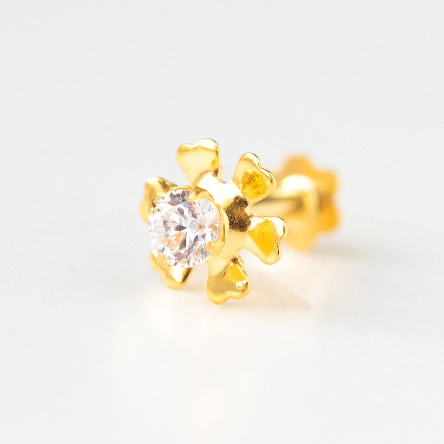18ct Yellow Gold Screw Back Nose Stud set with a Cubic Zirconia NIP-4-100