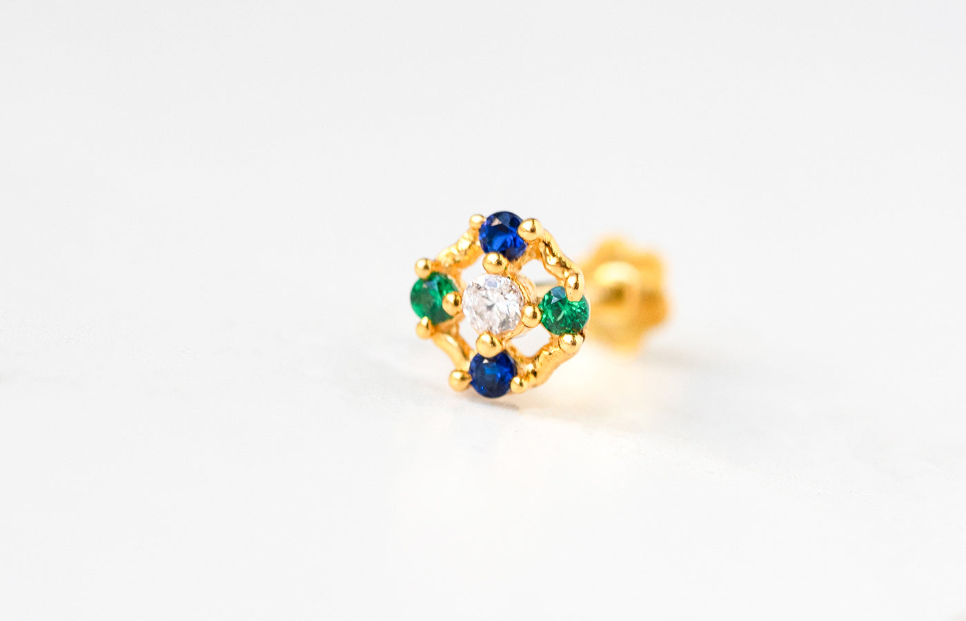 18ct Yellow Gold Screw Back Nose Stud set with two Green and two Blue Cubic Zirconias NIP-4-320a