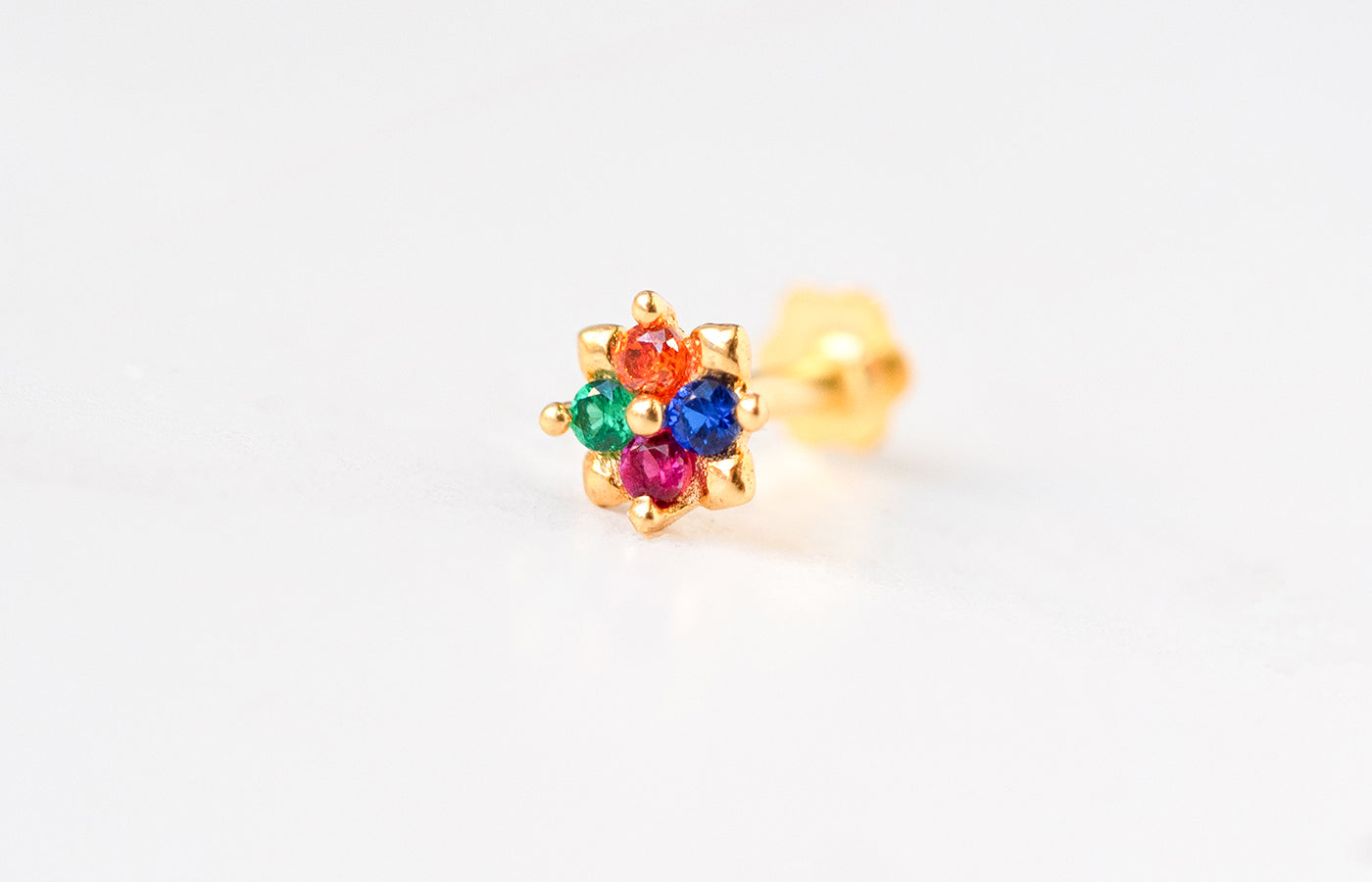 18ct Yellow Gold Screw Back Nose Stud set with Multi-Coloured Cubic Zirconias NIP-4-320f
