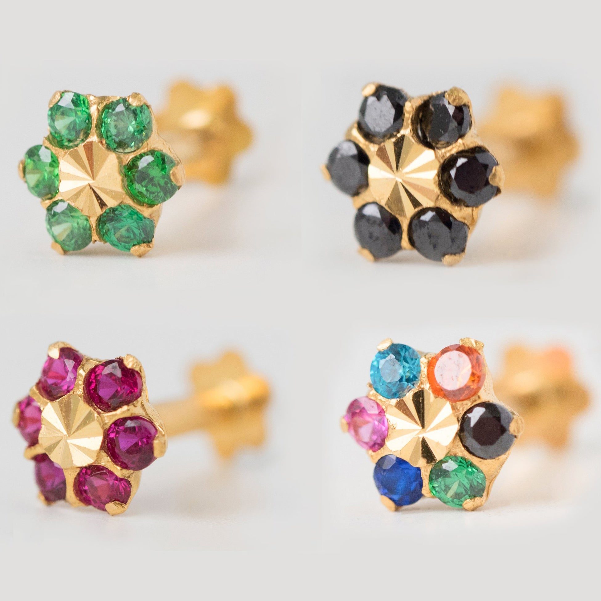 18ct Yellow Gold Nose Stud set with six coloured Cubic Zirconia Stones NIP-4-870