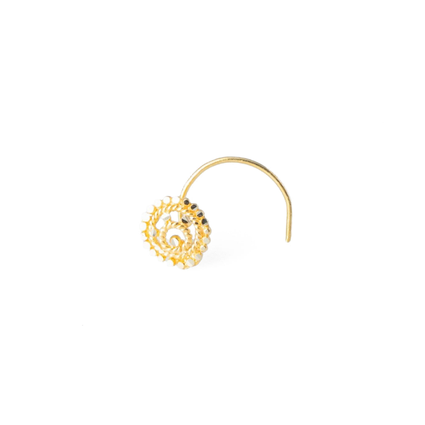 18ct Yellow Gold Wire Coil Back Nose Stud with Filigree Design NIP-5-130c