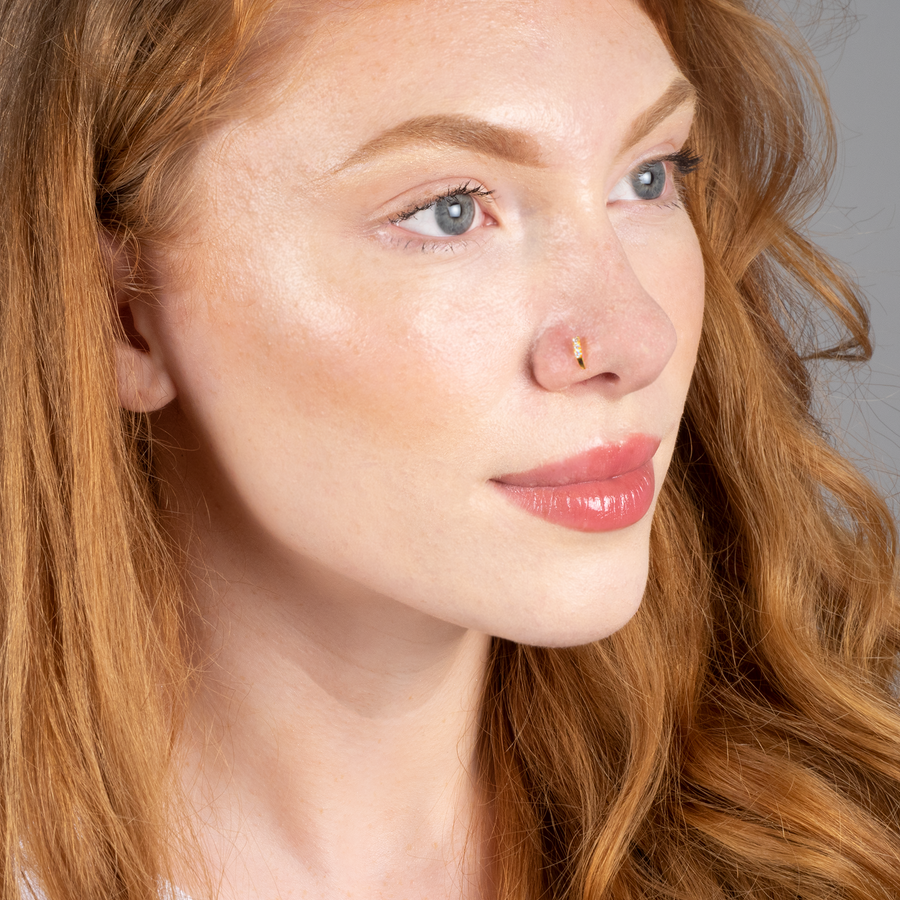18ct Yellow Gold Faux Nose Ring with Screw Back Nose Stud set with three Cubic Zirconia NIP-5-460
