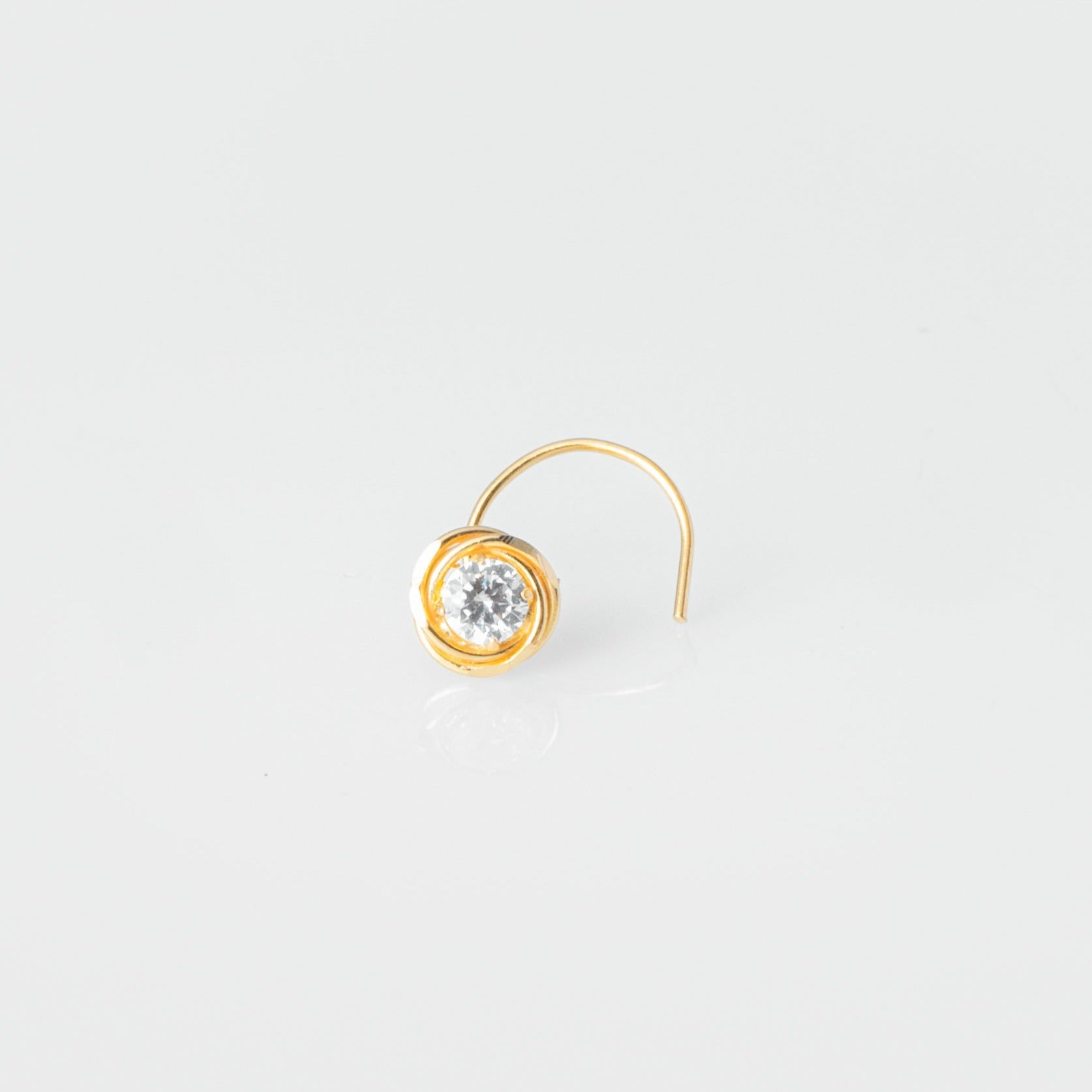 18ct Yellow Gold Wire Coil Back Nose Stud with Diamond Cut Design (4.15mm - 5.25mm) NIP-5-750