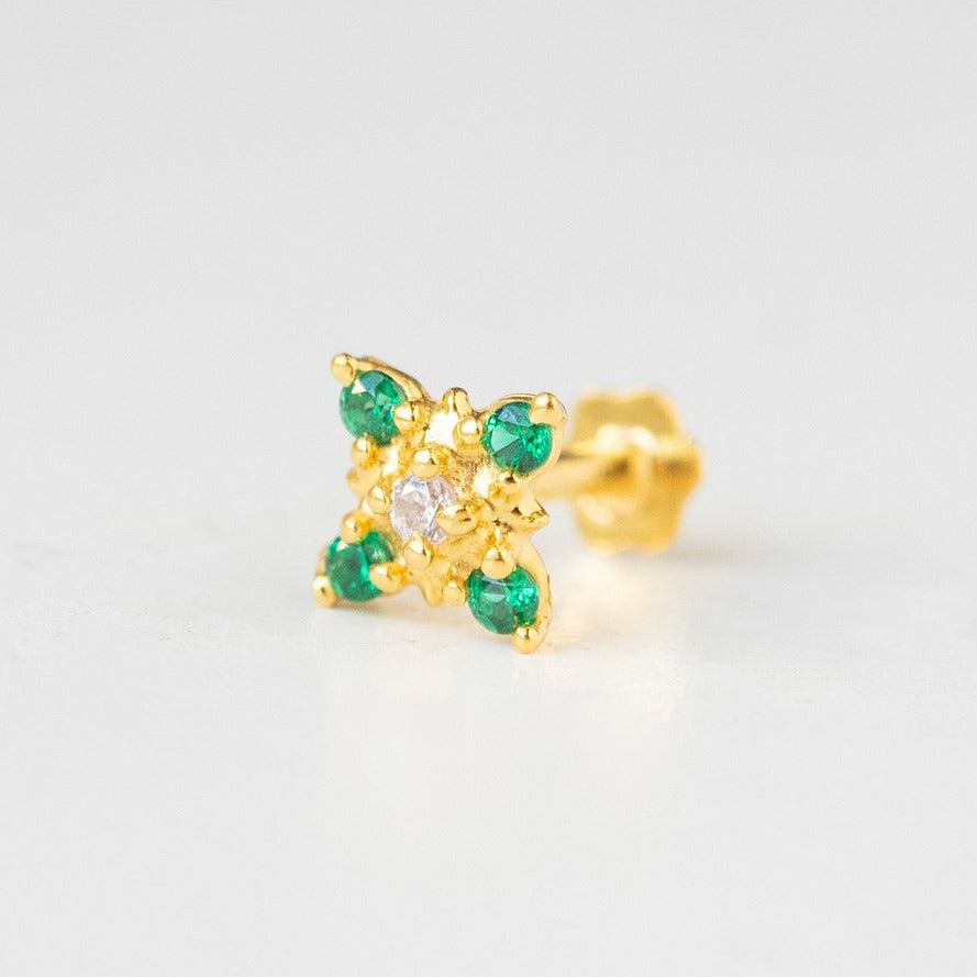 18ct Yellow Gold Screw Back Nose Stud set with five white and green Cubic Zirconias NIP-5-570i