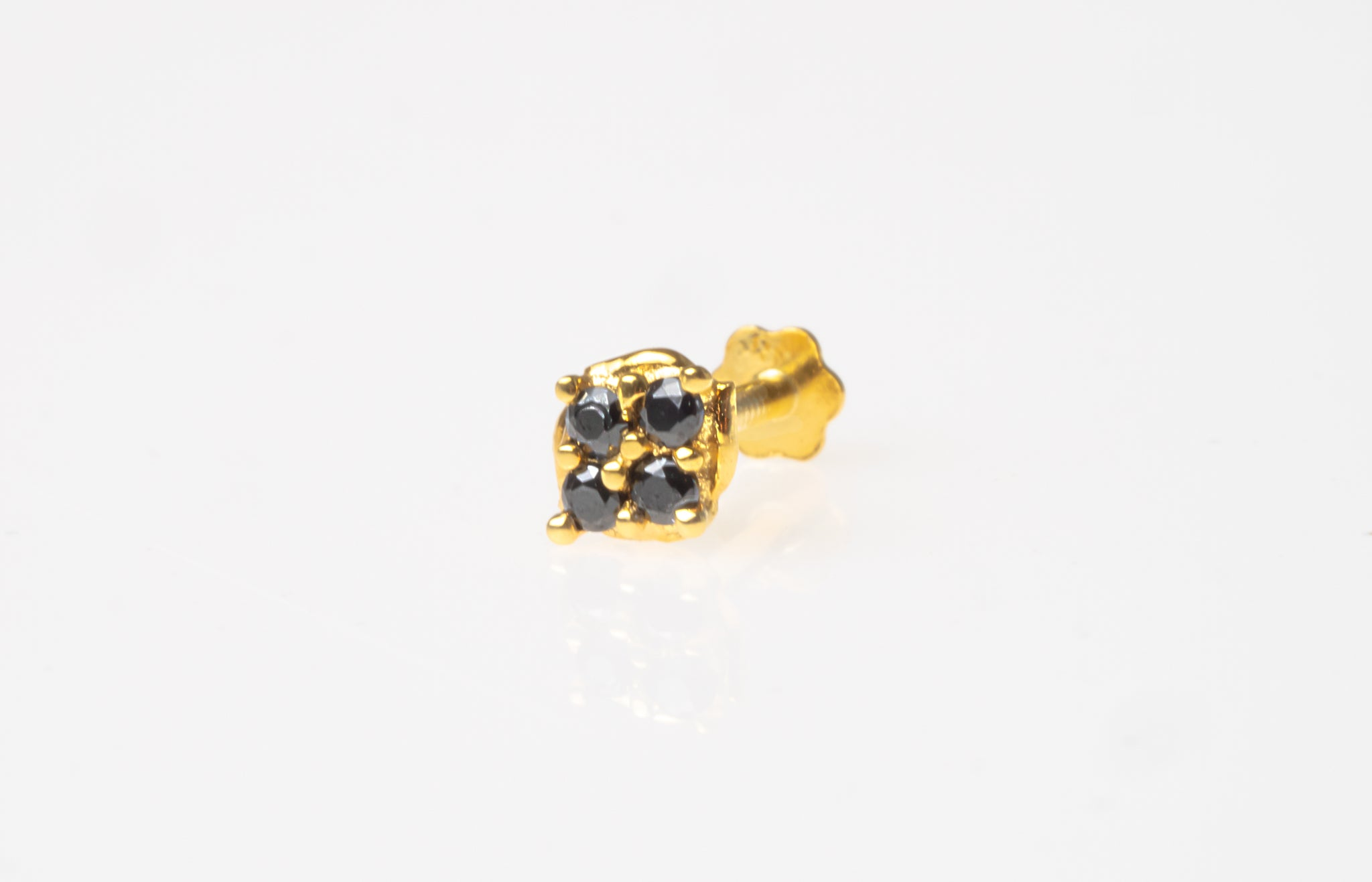 18ct Yellow Gold Screw Back Nose Stud set with 4 Black Cubic Zirconias NIP-5-580d