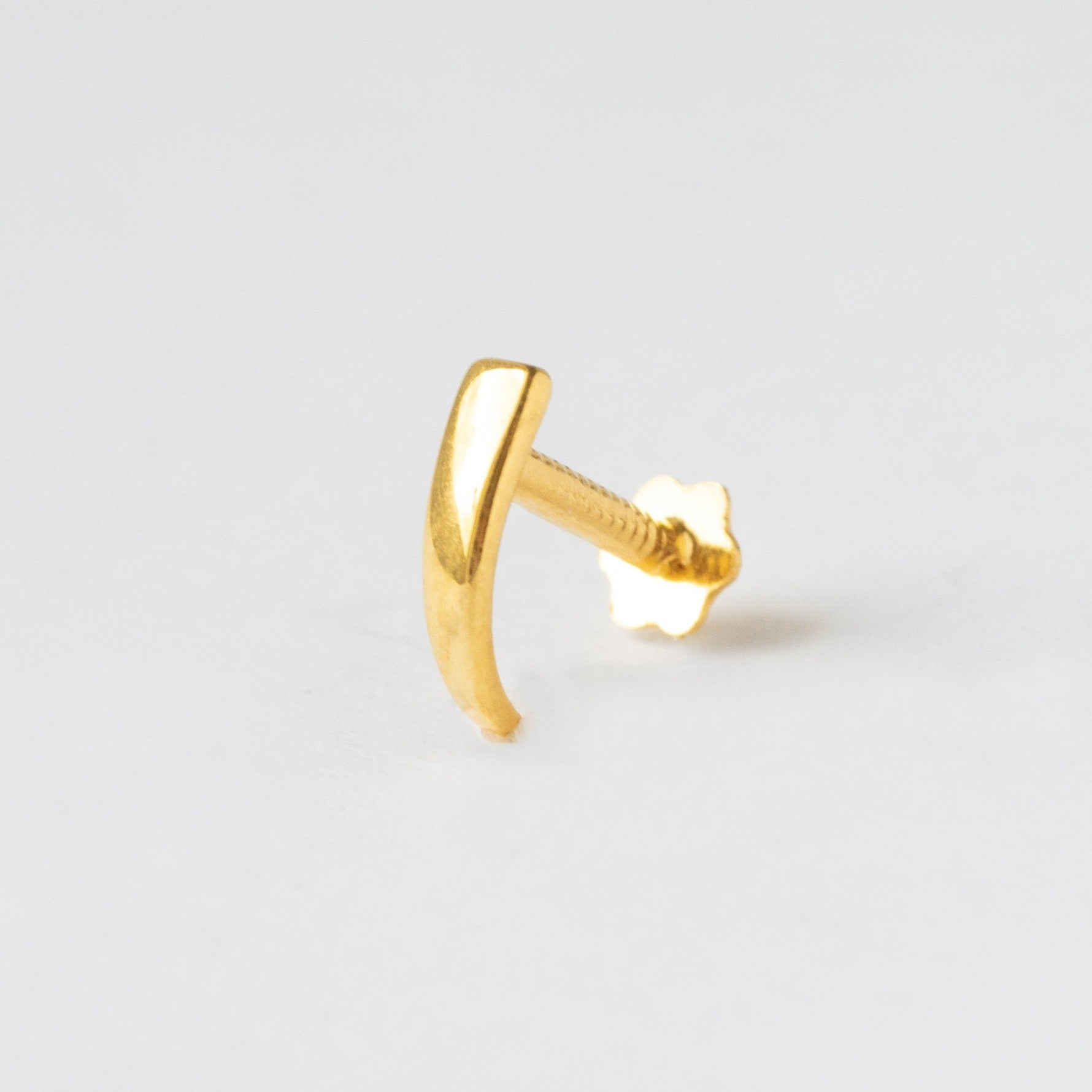 18ct Yellow Gold Faux Nose Ring with Screw Back Nose Stud NIP-5-610