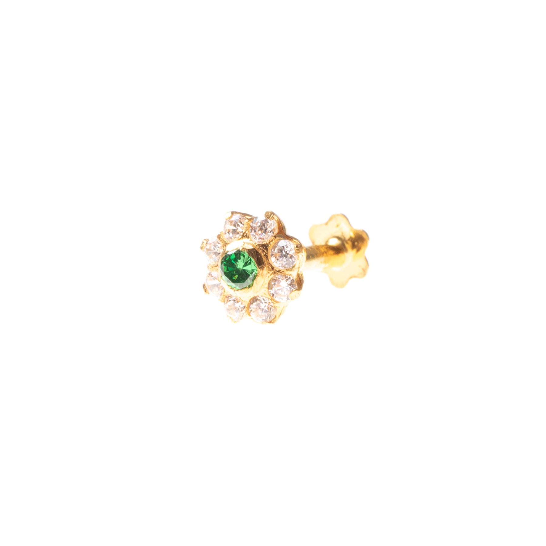 18ct Yellow Gold Nose Stud set with eight white and one colour Cubic Zirconia Stones NIP-5-640