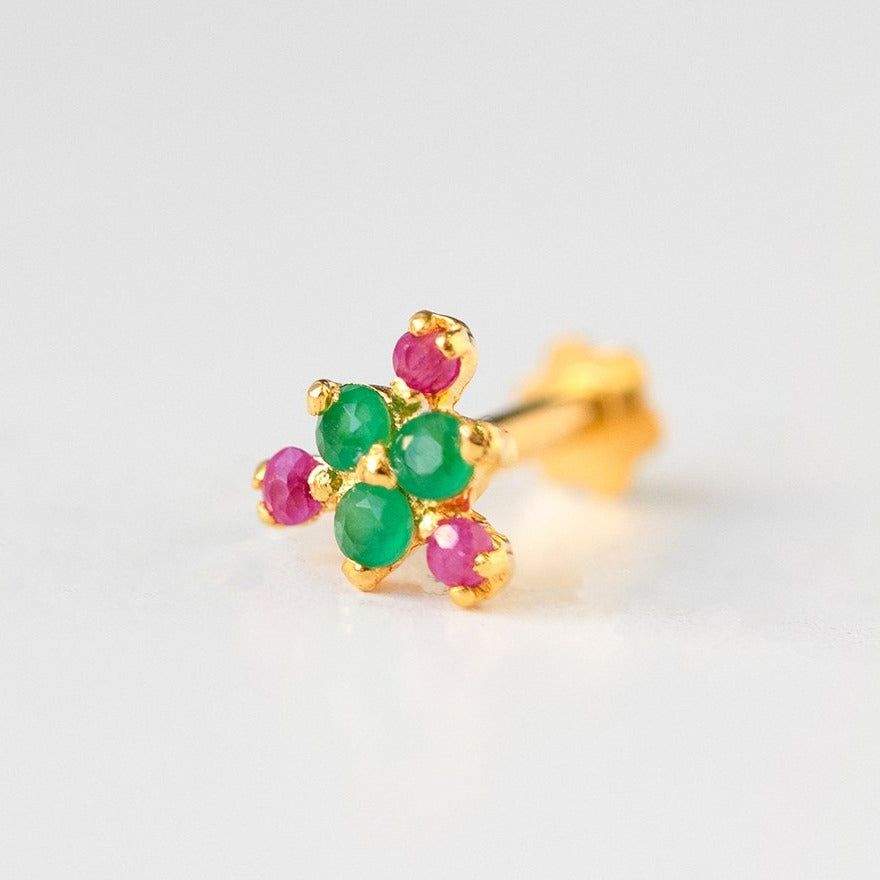 18ct Yellow Gold Screw Back Nose Stud set with six red and green Cubic Zirconias NIP-5-720b