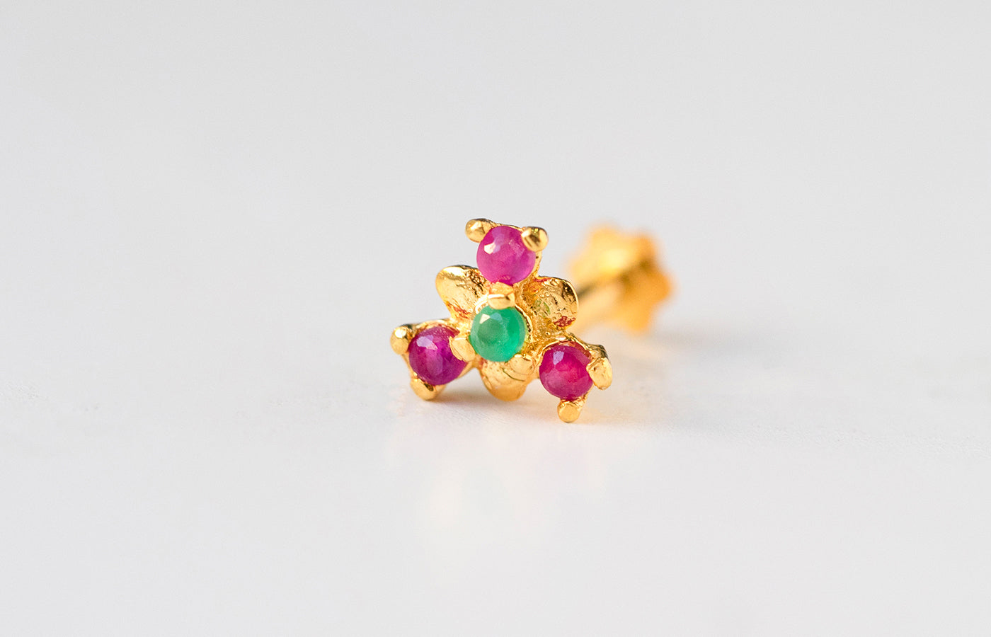 18ct Yellow Gold Screw Back Nose Stud set with four red and green Cubic Zirconias NIP-5-720f