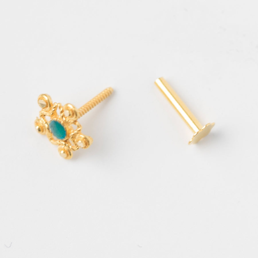 18ct Yellow Gold Screw Back Nose Stud spearmint green enamel NIP-6-710a