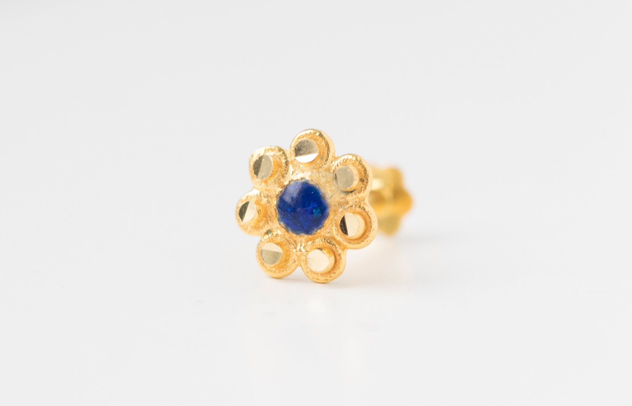 18ct Yellow Gold Screw Back Nose Stud blue enamel NIP-6-710b