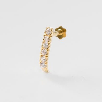 18ct Yellow Gold Faux Nose Ring with Screw Back Nose Stud set with six Cubic Zirconia NIP-8-750