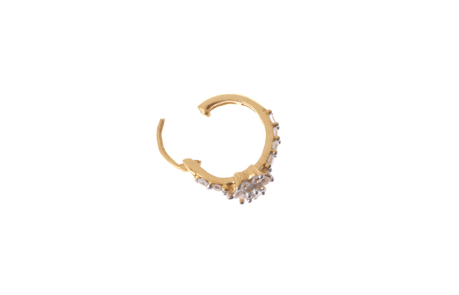 22ct Gold Fancy Nose Ring set with Cubic Zirconias (NP12003)