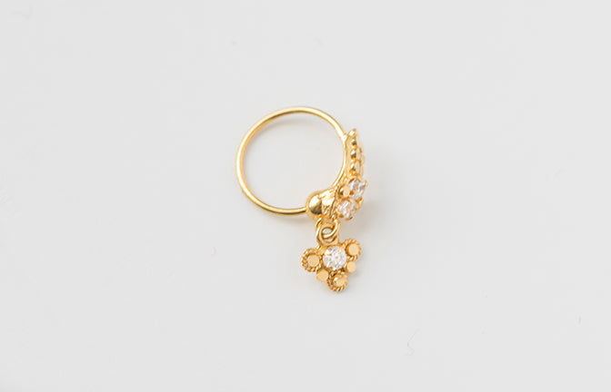 18ct Gold Nose Ring with drop and set with 3 Cubic Zirconias NR-7555