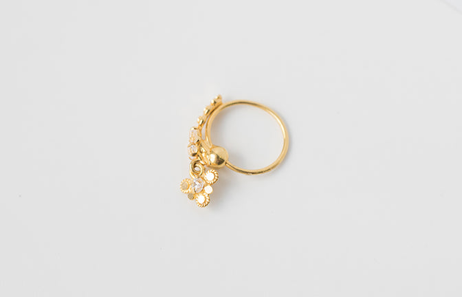 18ct Gold Nose Ring with drop and set with 3 Cubic Zirconias NR-7556