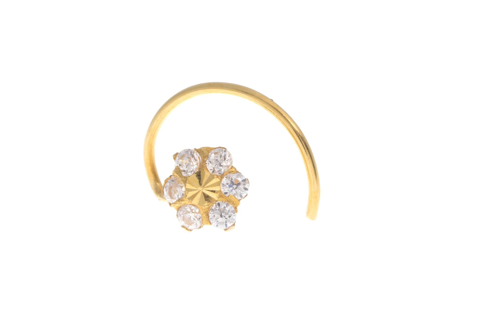 22ct Yellow Gold Nose Stud with Flower Design, Minar Jewellers - 1