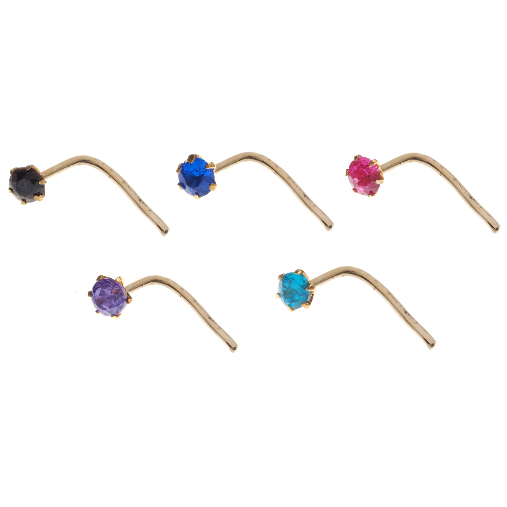 18ct Gold Nose Stud L Shape Back with Cubic Zirconia Stone (NS-4677L)