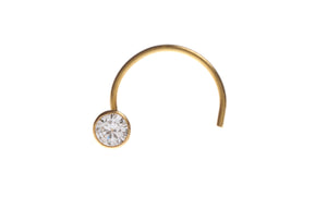 22ct Yellow Gold Nose Stud with Cubic Zirconia Stone, Minar Jewellers - 1