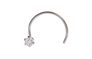 18ct White Gold Nose Stud with Cubic Zirconia Stone, Minar Jewellers - 1