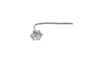 18ct White Gold Cubic Zirconia Nose Stud with L Shape Back (NS-4688)