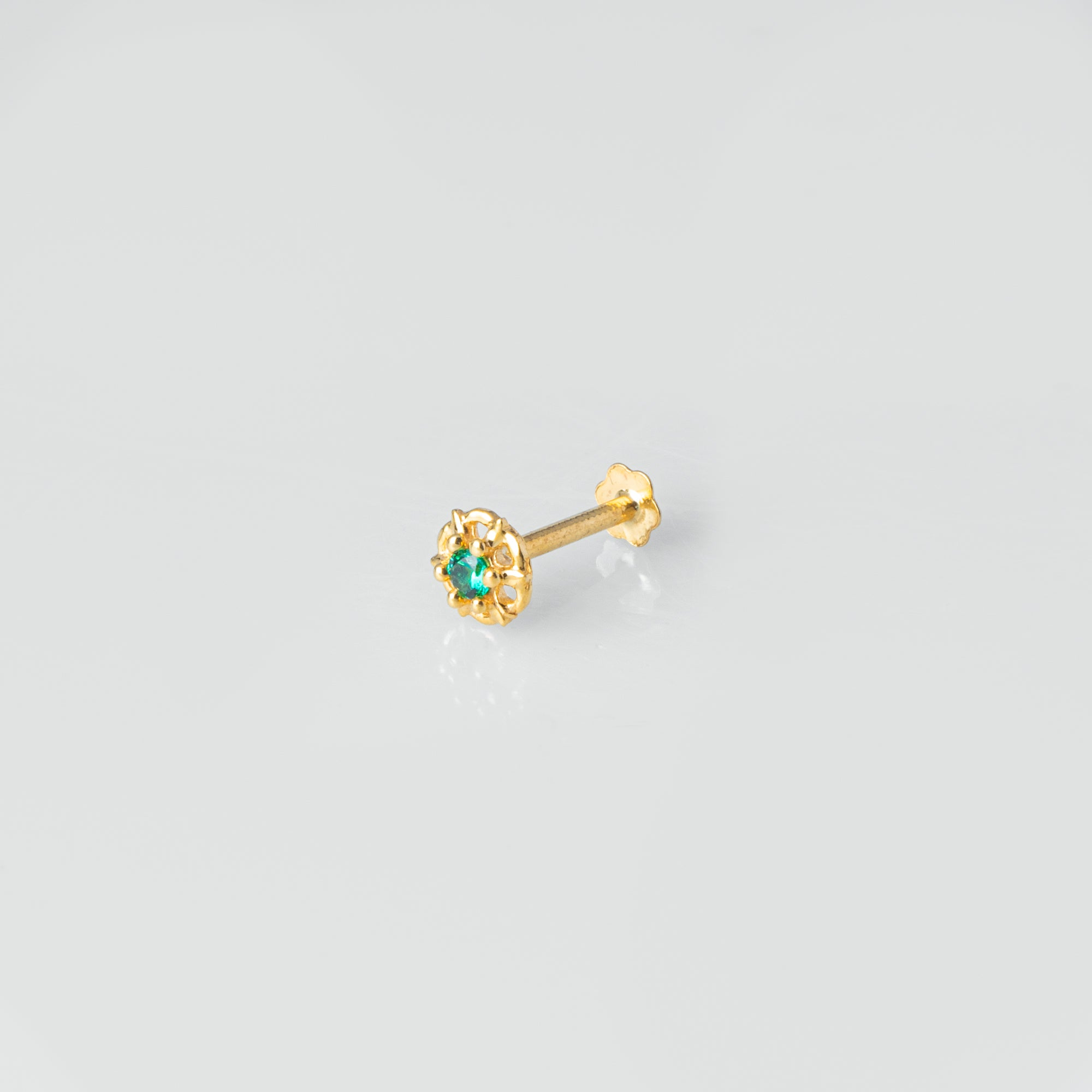 18ct Yellow Gold Nose Stud set with green or blue Cubic Zirconia Stones NS-4791