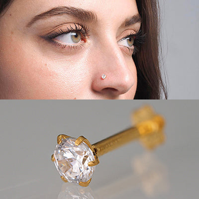 18ct Gold Nose Stud Screw Back with a Cubic Zirconia Stone (2mm - 4.5mm)